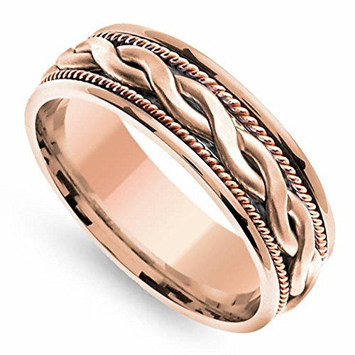 18K Rose Gold Braided Coil Twist Mens Wedding Band 7mm Size11