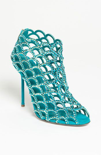 #Shoes, #Pumps - Sergio Rossi 'Mermaid' Caged Sandal Suede waves dotted with Swarovski crystals create an airy sandal lifted by a super-slim wrapped heel. - $ 1,670.00