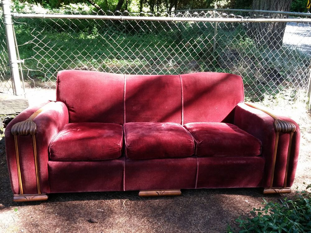 Vintage Matching 1940 S Art Deco Mohair Couch And Chair
