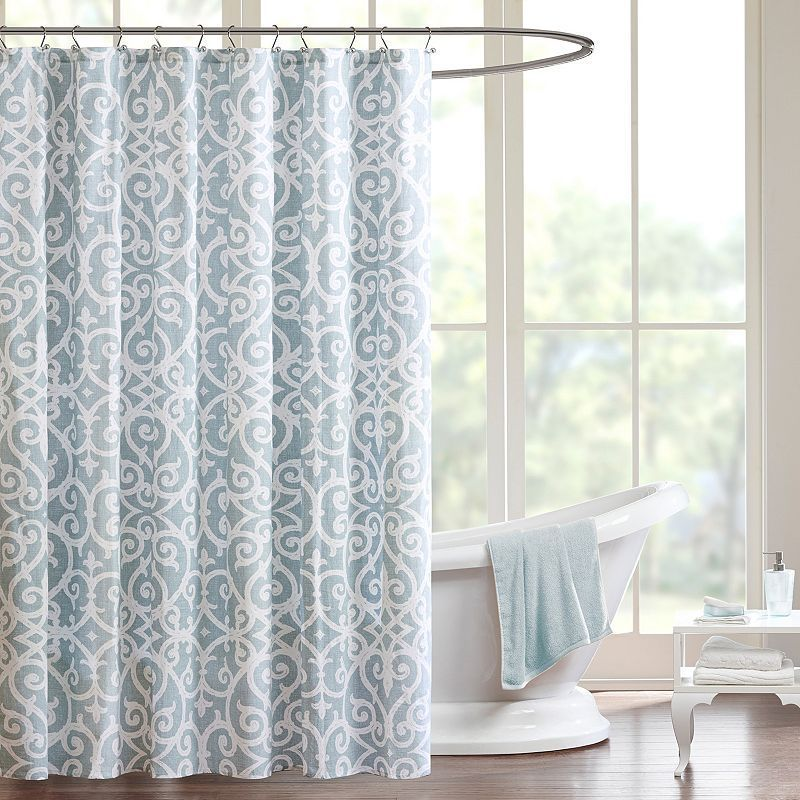Madison Park Pure Lucia Shower Curtain, Turquoise/Blue (Turq/Aqua)