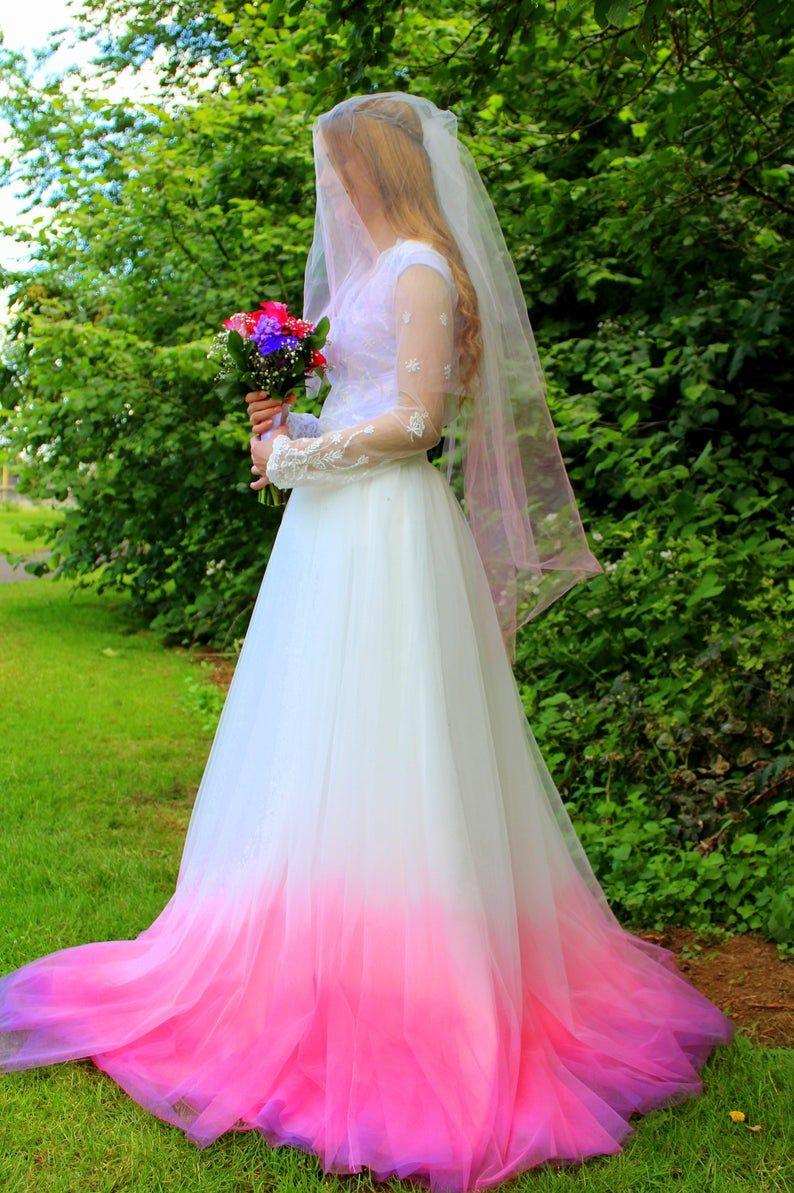 Ombre Wedding Veil Pink Wedding Veil Bridal Veil Ivory Etsy In 2020 Dip Dye Wedding Dress Rainbow Wedding Dress Dye Wedding Dress