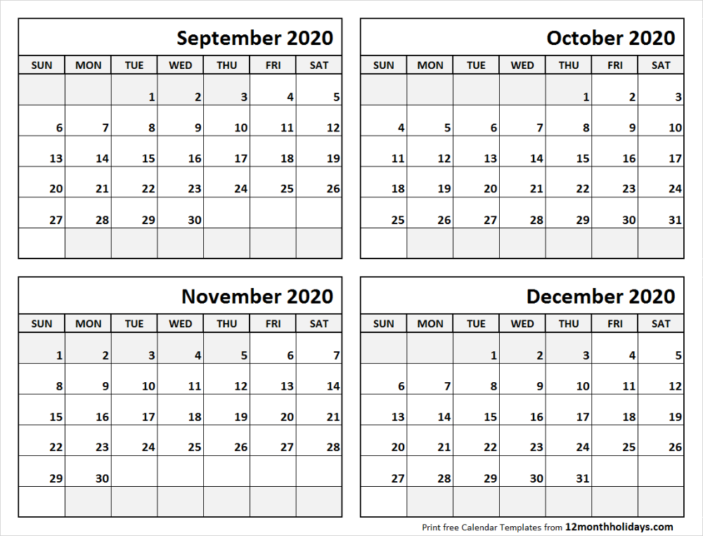 Print September To December 2020 Calendar Template 4 Month Calendar Excel Calendar Template Blank Calendar Template Calendar 2019 Template