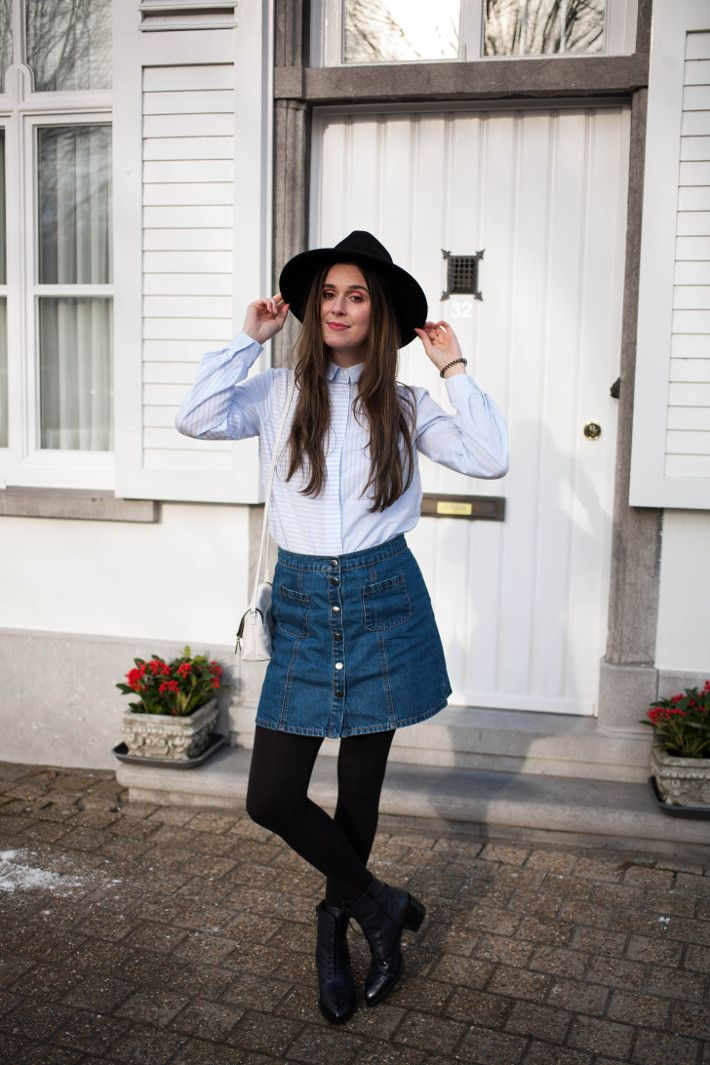 Outfit: preppy boho in striped blouse, button through skirt