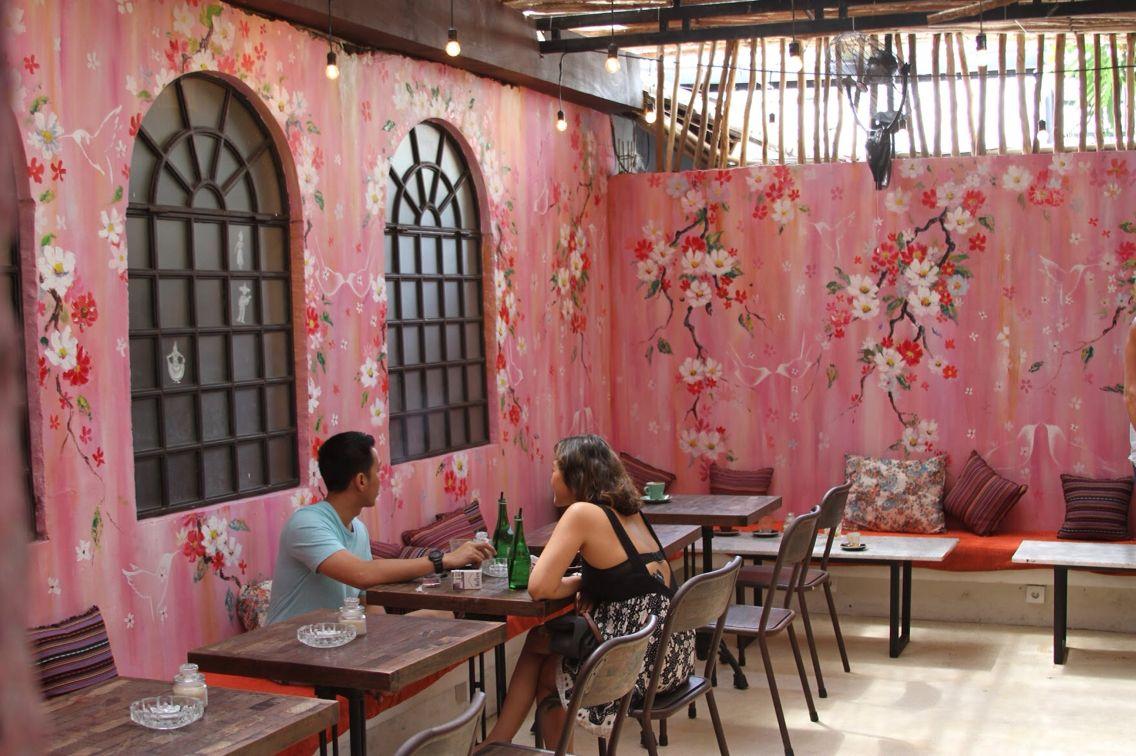 Kathe Fraga paintings: Chinoiserie and floral art/design for Revolver Espresso, Bali www.kathefraga.com