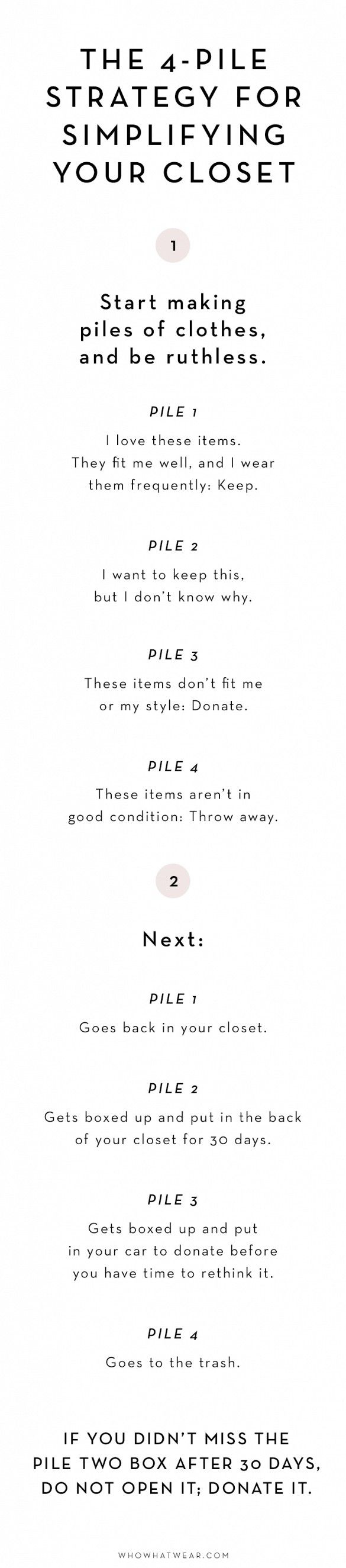 The 4 pile strategy for simplifying your wardrobe for Minimalistischer haushalt