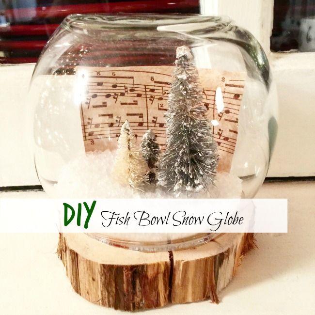 Easy Diy Fish Bowl Snow Globes Christmas Snow Globes Christmas Decor Diy Christmas Snow Globes Diy