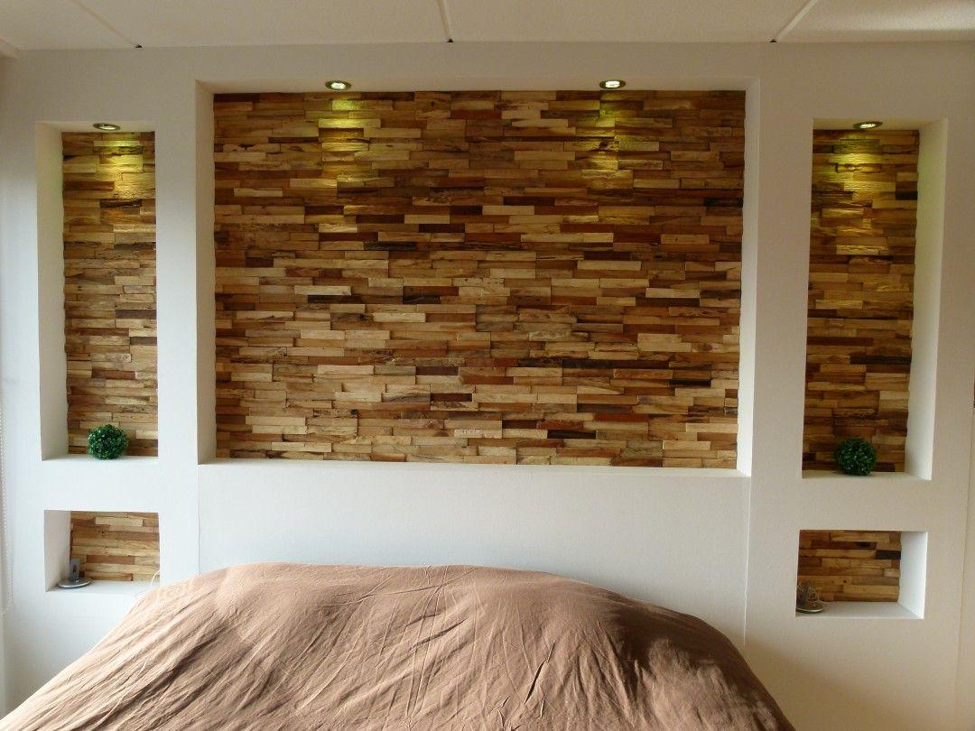 Houten Wandbekleding Slaapkamer : 3d houten wandbekleding in de slaapkamer. rustiek natuurlijk en