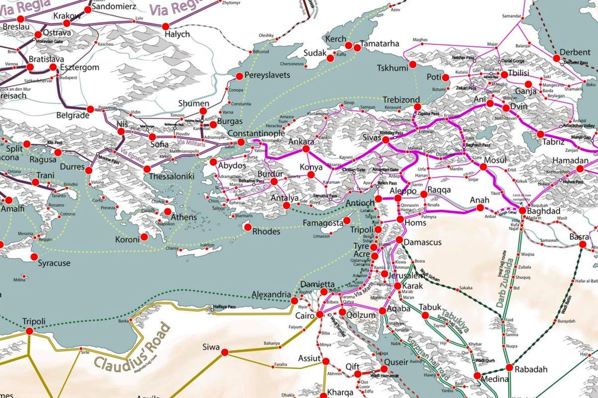 A Detailed Map Of Medieval Trade Routes In Europe Asia And