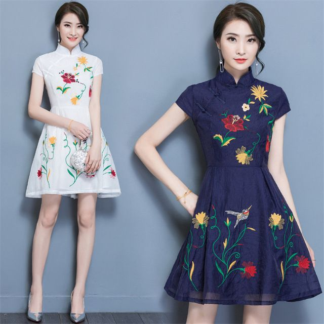 340921e493a4 Fasbys Chinese Traditional Dress Fashion Design Improved Cheongsam Short  Sleeve Mini Dress Casual Summer Vintage Mandarin Qipao