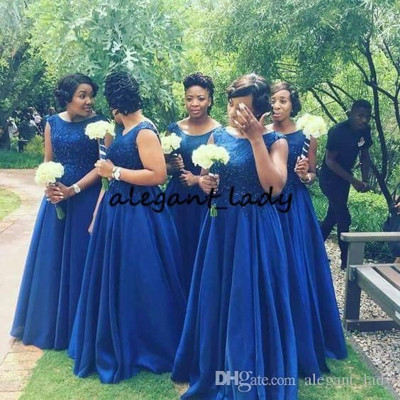 89cbecb2b9bb5 Royal Blue Plus Size Long Bridesmaid Dresses 2019 Modest Lace Chiffon  Country Garden Nigeria Maid of Honor Wedding Party Guest Gown Country  Bridesmaid Dress ...