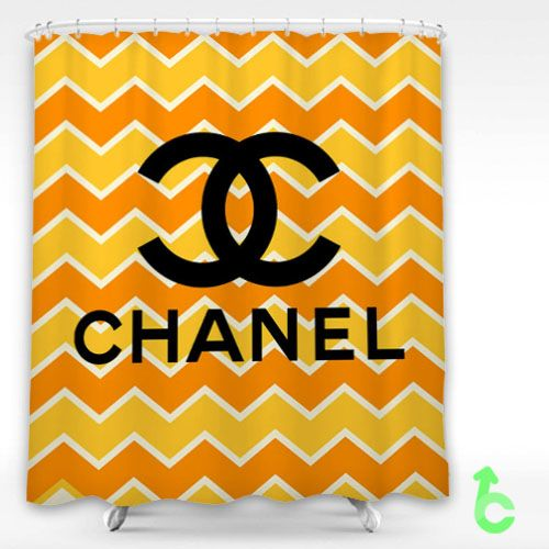 Chanel Zigzag Orange Bright Pattern Shower Curtain Cheap And Best Quality.  *100% Money