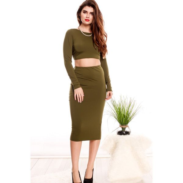 f30d4ad6a5 Green long sleeve halter top open back lace pencil dress ( 25) ❤ liked on