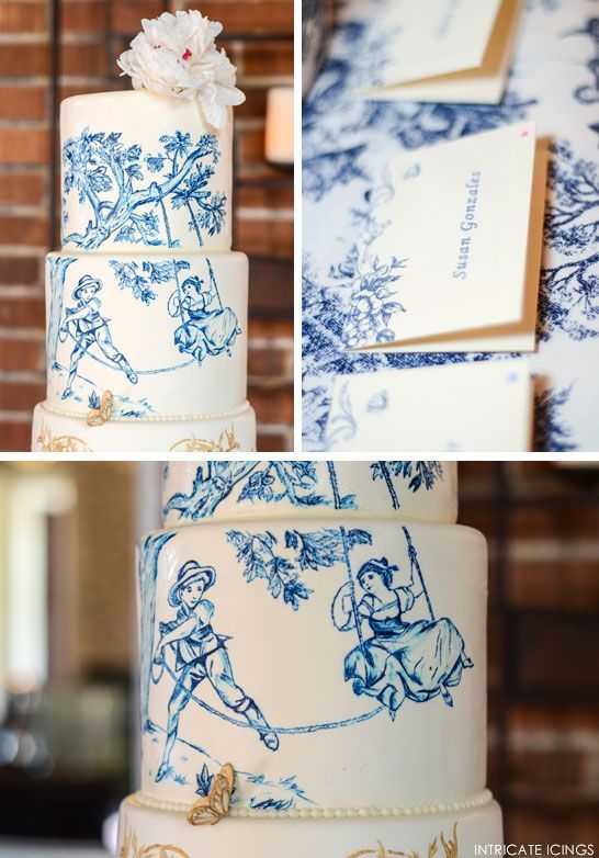 Navy & Gold Toile Wedding Cake Navy & Gold Toile Wedding Cake  |  by Intricate Icings  |   -