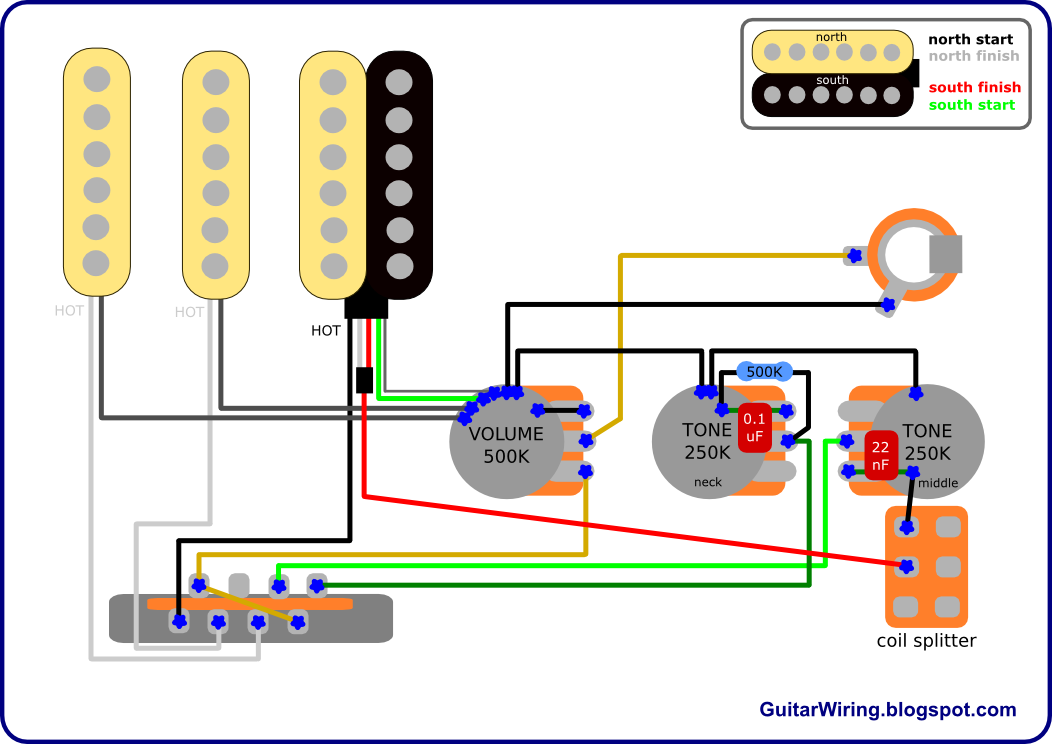 the guitar wiring blog diagrams and tips fat strat mod fender rh pinterest com HSS Strat Wiring Diagram Electric Guitar Wiring Diagram