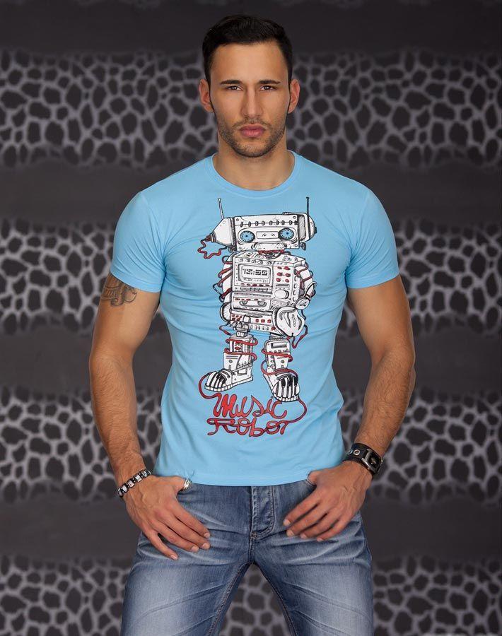 T-shirt Homme en coton fashion Hip Hop bleu ciel manches courtes imprime robot par UnCadeauUnSourire.com