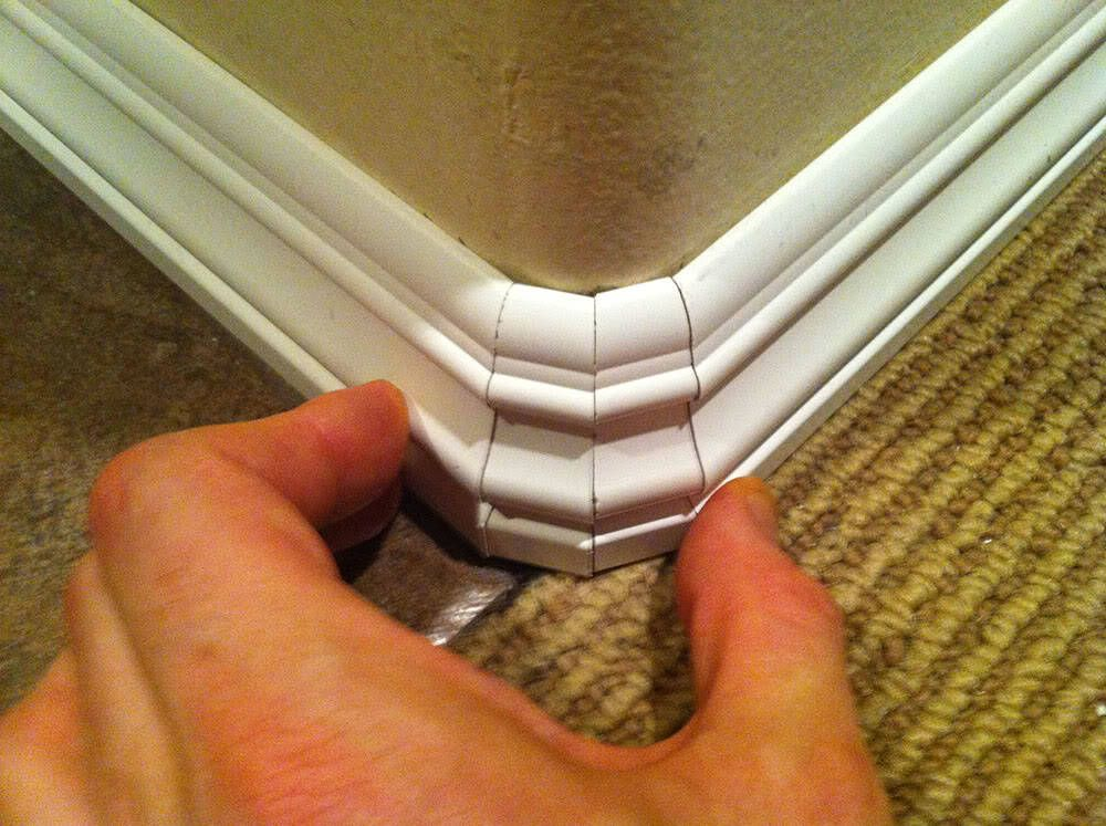 Small Pieces Of Baseboard Will Help Negotiate Rounded