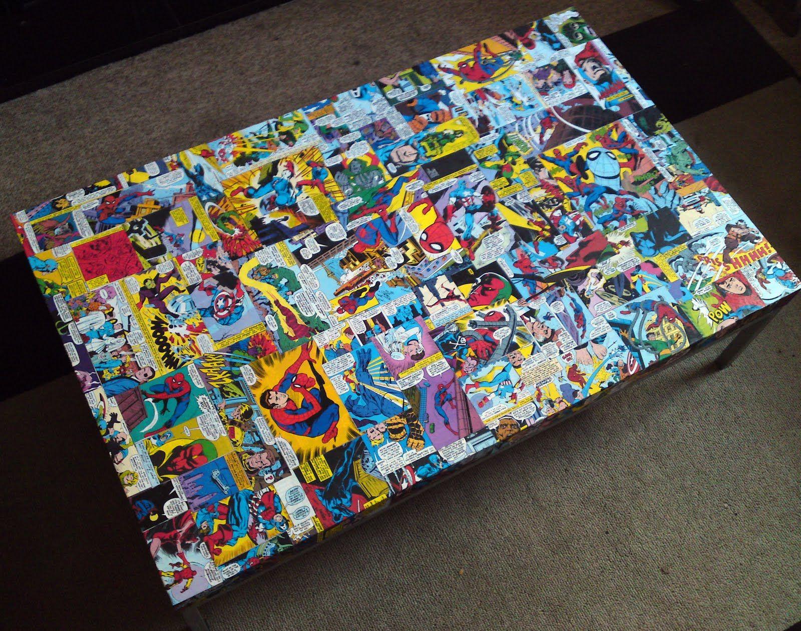 Comic Book Side Table Marvel and DC Comics Decoupaged Decoupage