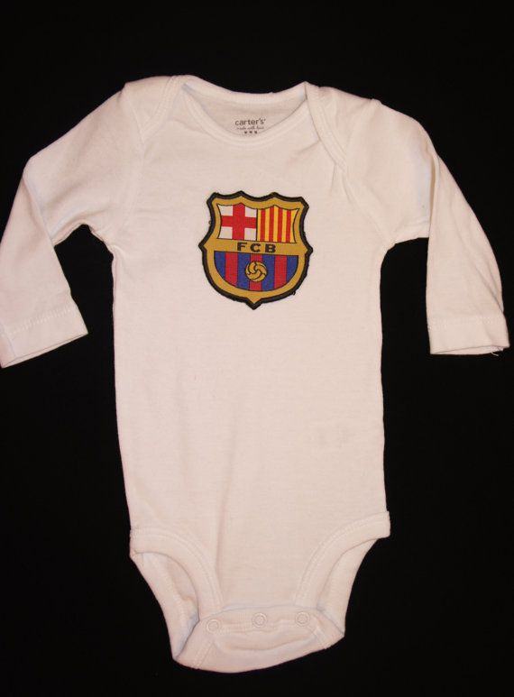c12717774 Long Sleeve - FC Barcelona soccer baby onesie - Embroidered Patch ...