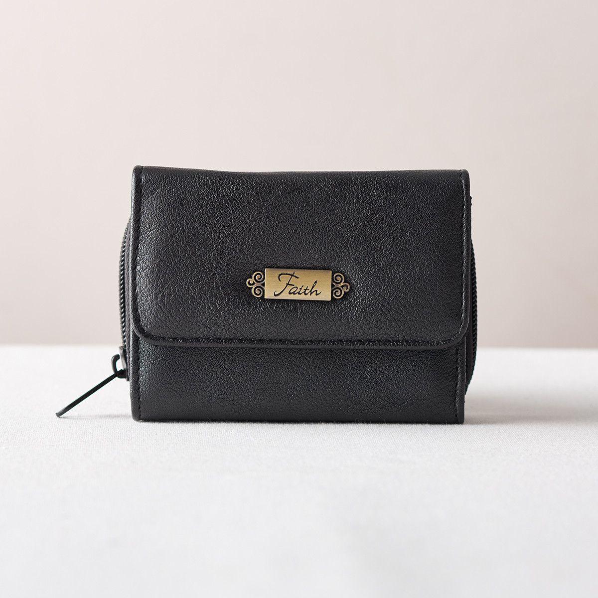 """Wallet w/""""Faith"""" Badge (Black)"""