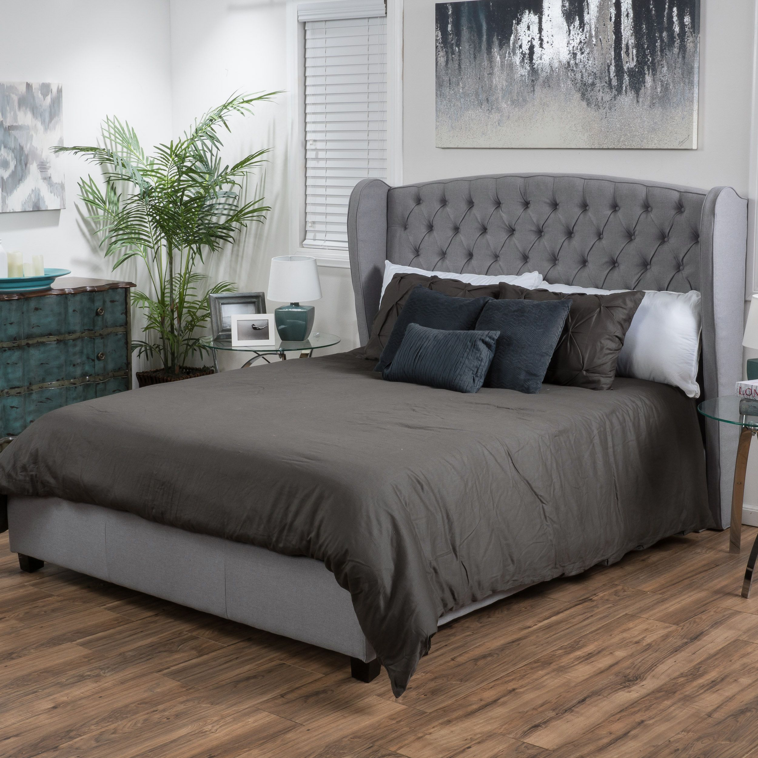 Alberta Tufted Fabric Wingback Queen Bed Set by Christopher Knight ...
