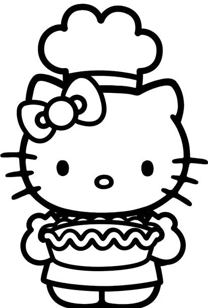 Hello Kitty Cook Cakes Christmas Coloring Page
