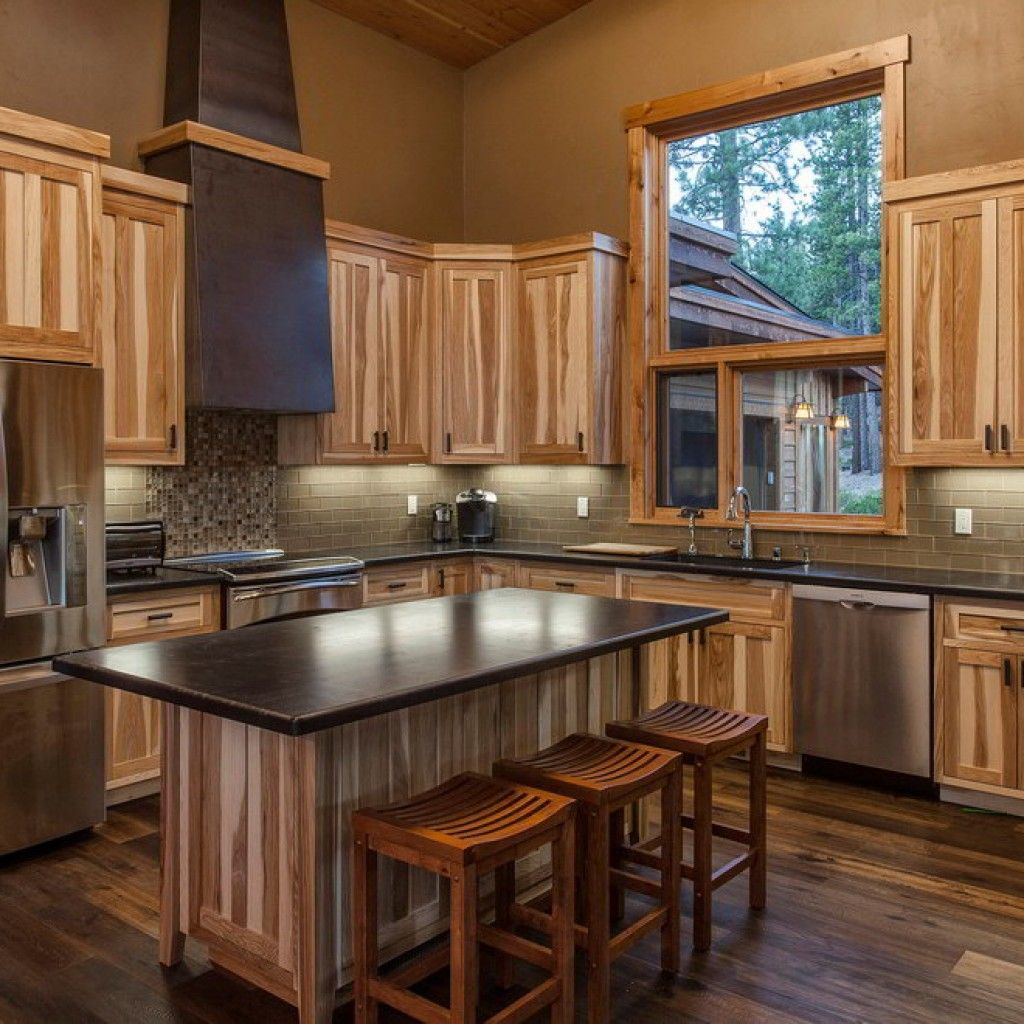 Modern Maple Cabinets With Dark Wood Floor: Kitchen:Modern Kitchen Hickory Cabinets Subway Tile