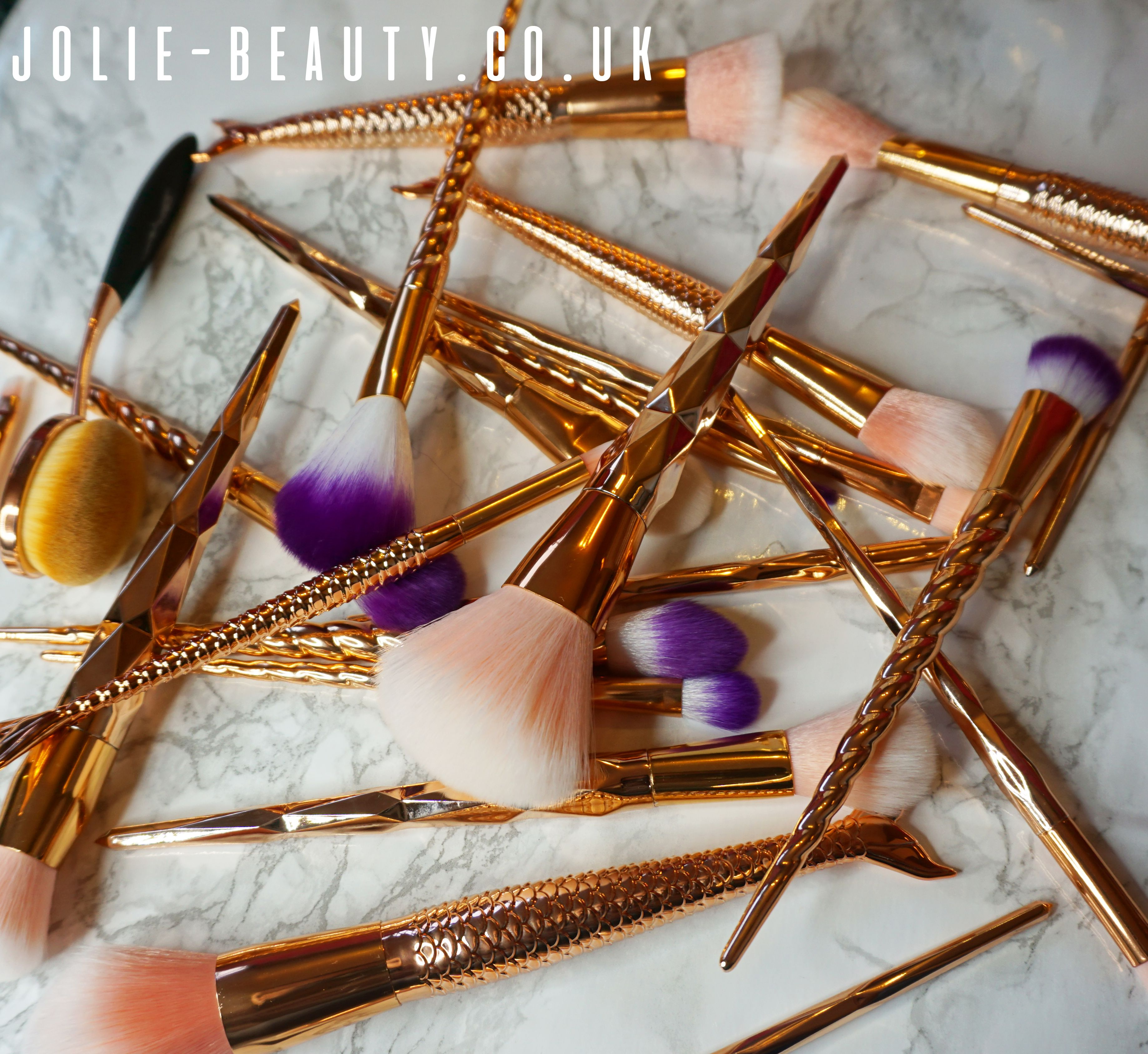 Just a selection of the rose gold makeup brushes available