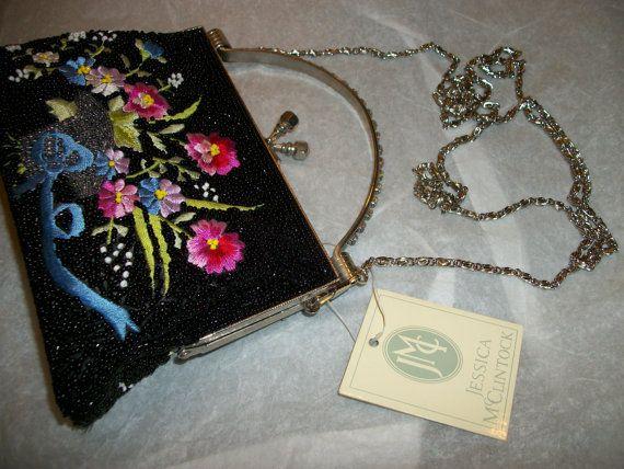 jessica mcclintock handbag evening purse formal bag wedding purse beaded floral print with mini jmc perfume vintage /www.etsy.com/shop/FRANSCOSMETICSBARGIN