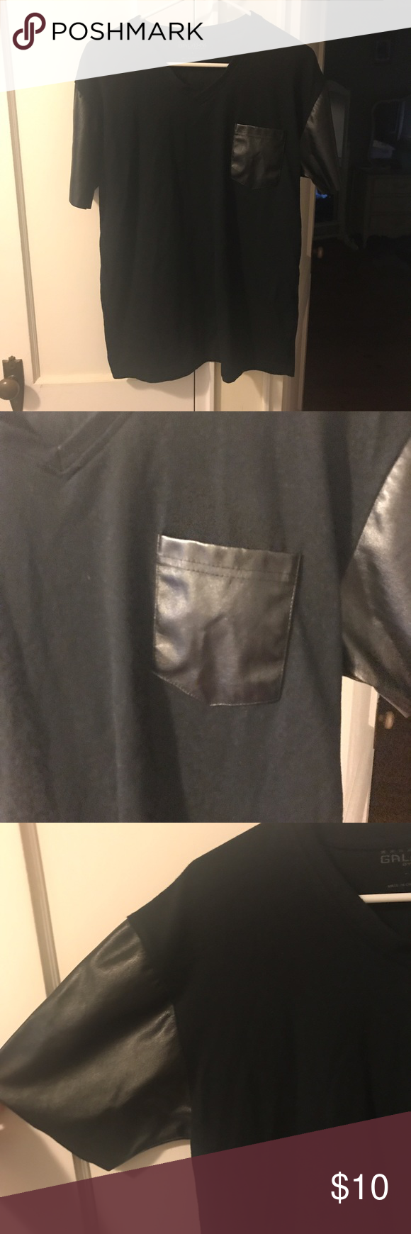 Men's Black Tee with Faux Leather Pocket & Sleeves Excellent condition. Sleek black with faux leather short sleeves and breast pocket. Shirts Tees - Short Sleeve