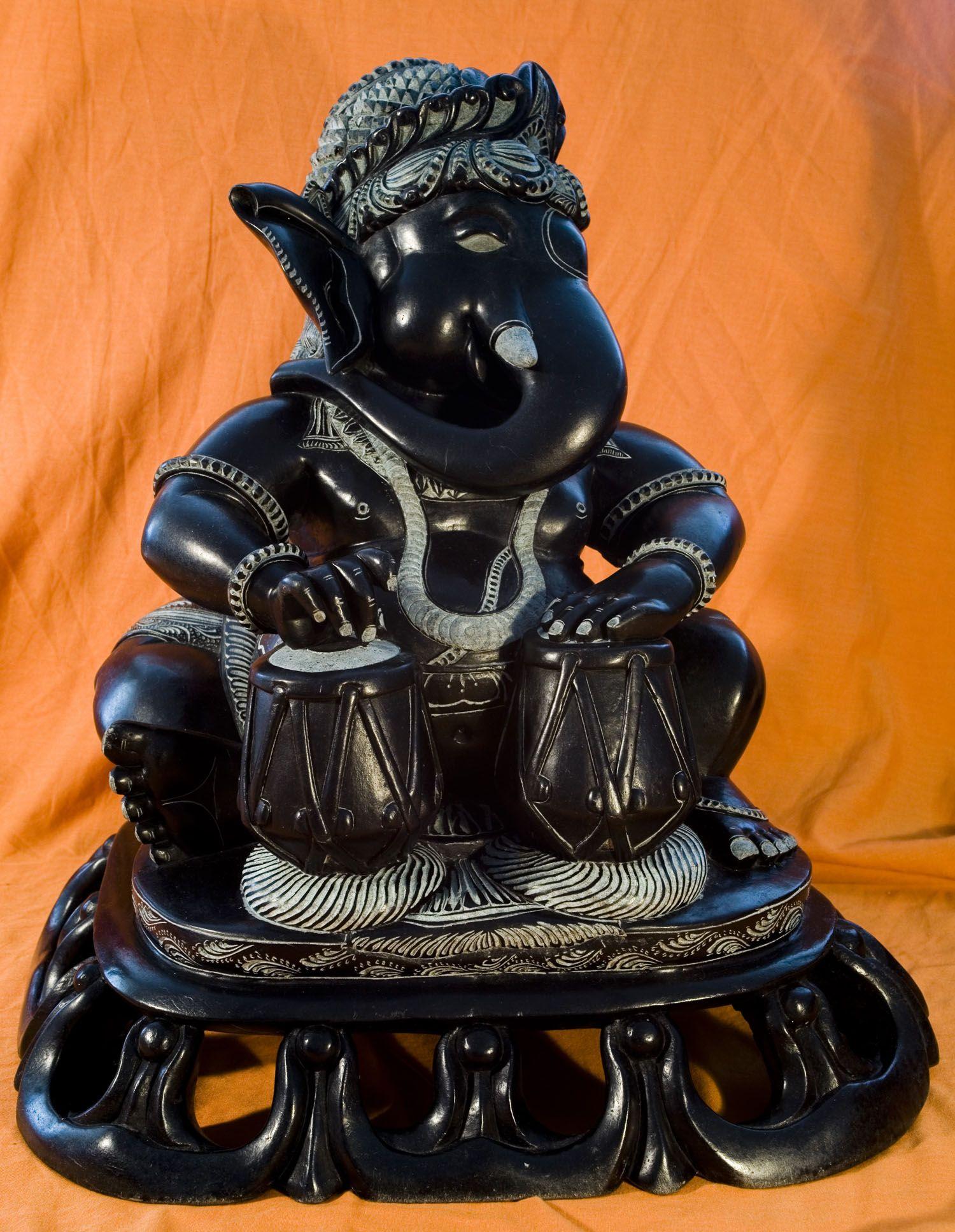 Ganesh On Tabla In Black Stone Ganesh Ganesha Lord Ganesha