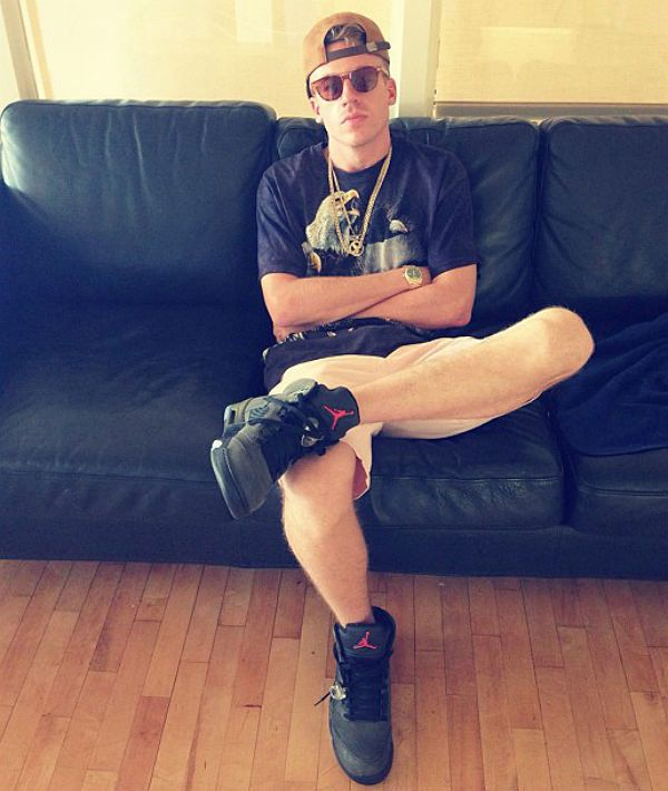 f7d199171159 Macklemore wearing Air Jordan V 5 Retro Fear Pack