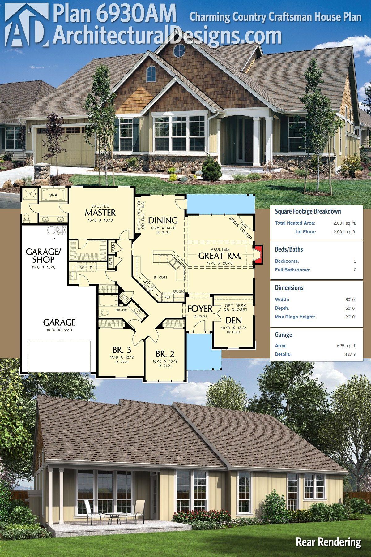plan 6930am: charming country craftsman house plan | craftsman house