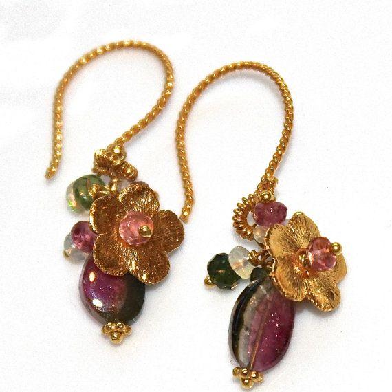 Watermelon Tourmaline Slice Ethiopian Opal Bali Gold Flower Earrings