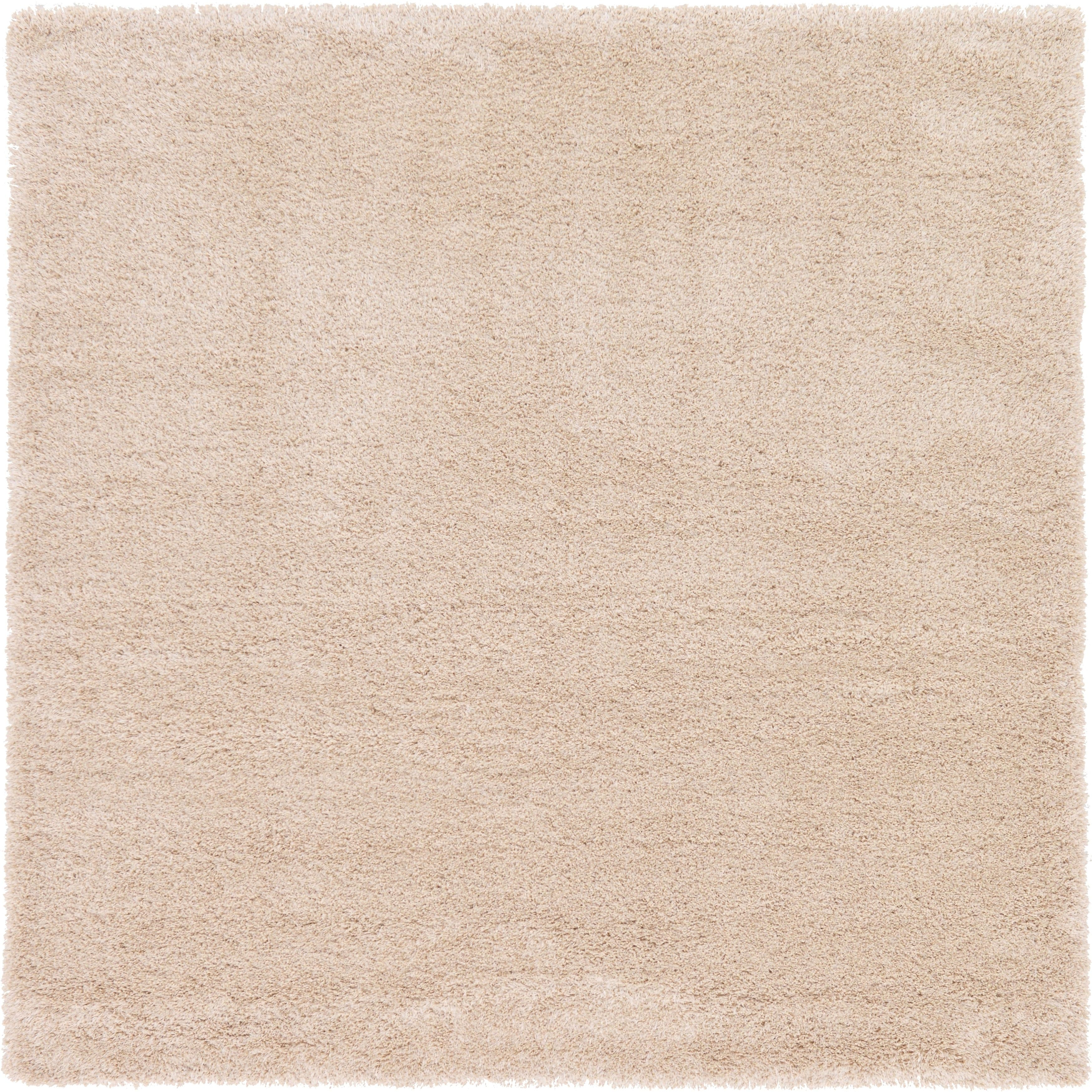 2e13829224d Unique Loom Luxe Solo Ivory Brown Solid Square Rug (8  x 8 ) (Ivory ...