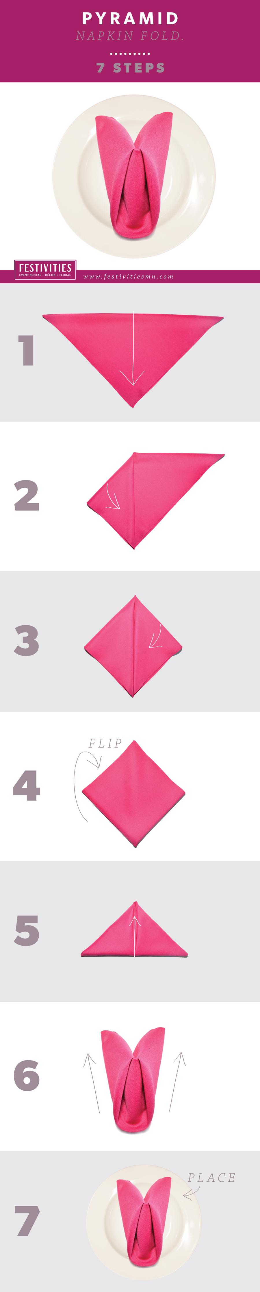 Napkin folding instructions for the pyramid napkin fold - How To Pyramid Napkin Fold In 7 Steps