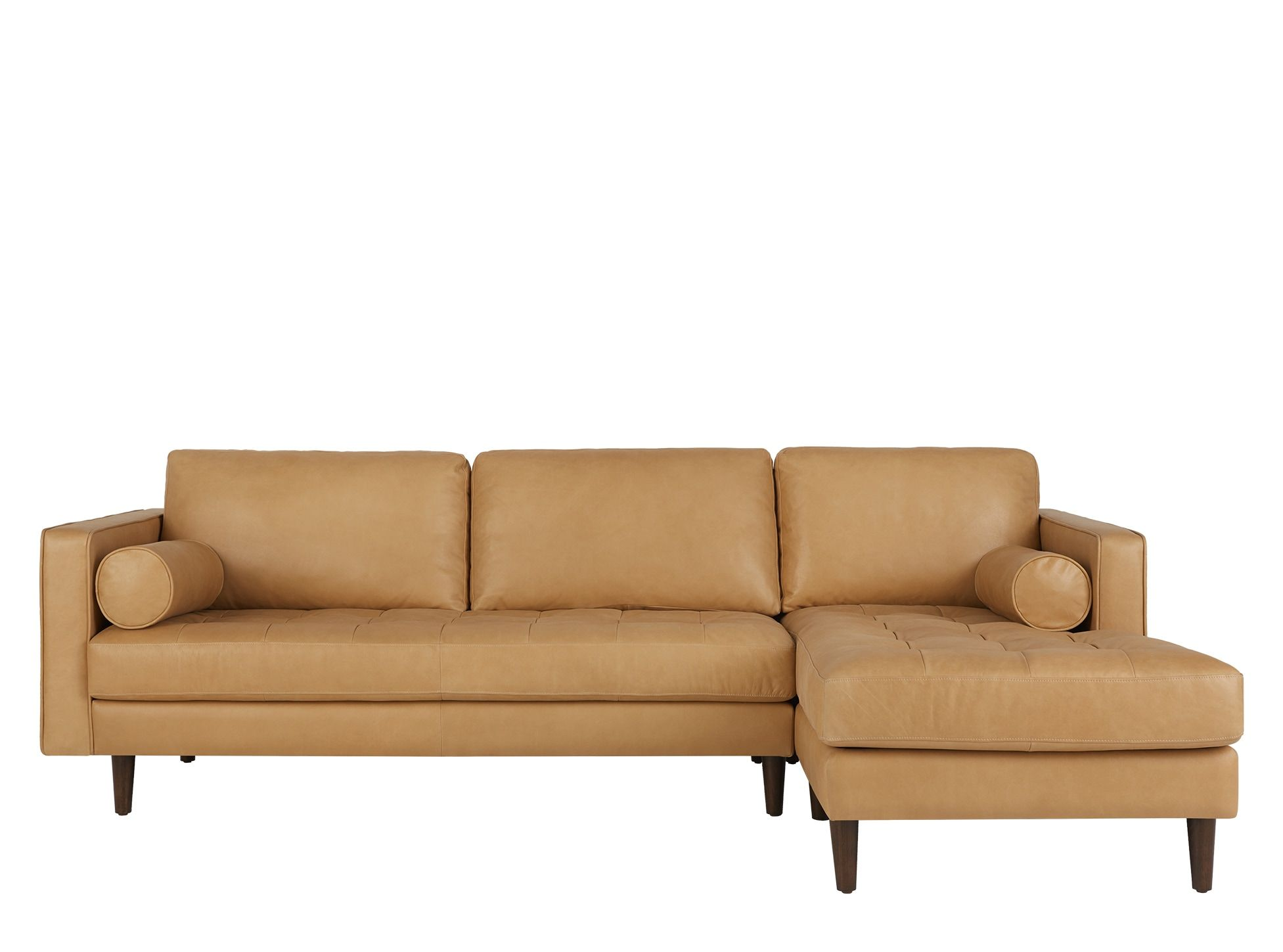 Scott 4 Seater Right Hand Facing Chaise End Corner Sofa Chalk Tan Premium Leather Canape Angle Canape Cuir Canape