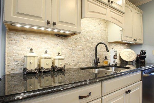 Travertine Tile Backsplash Ideas Stylish Kitchen White Cabinets Black Countertop