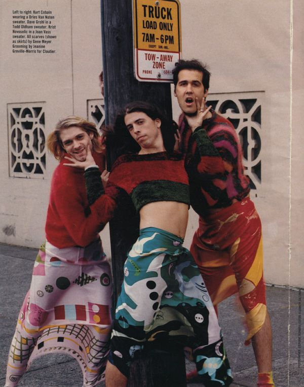 NIRVANA, August 1993, Seattle. 90s men in rock were really in touch with their feminine side.