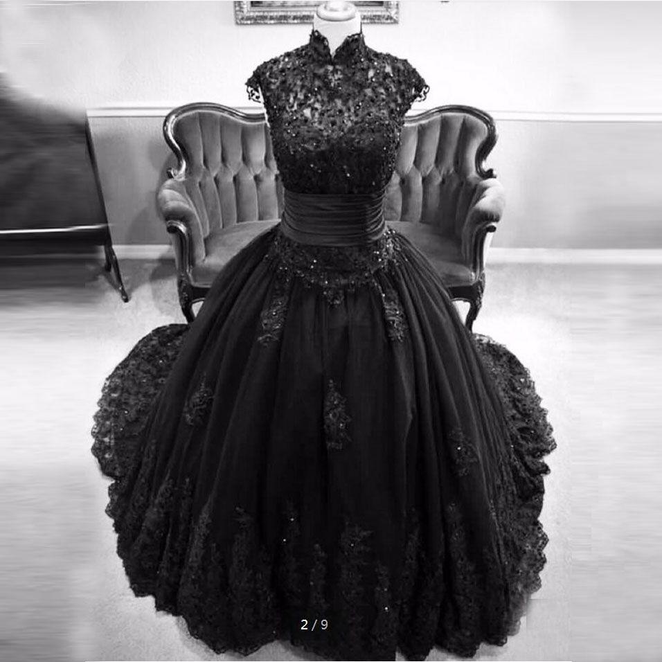 High Neck Cap Sleeve Black Wedding Dresses Lace Appliques Sequins Ball Gown Wedding Dresses Zipper Up Back Gothic Wedding Dresses Black Lace Ball Gown Black Ball Gown Gothic Wedding Dress [ 956 x 956 Pixel ]