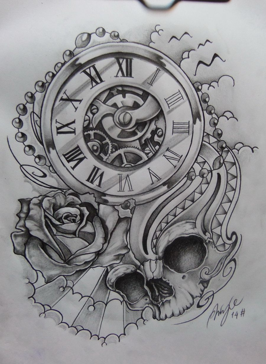 Rose Clock Tattoo Designs Drawing: Time Piece Tattoo, Watch Tattoos