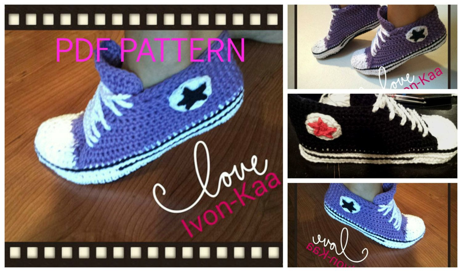 Crochet pattern WOMAN inspired by converse style shoes by IvonKaa ...