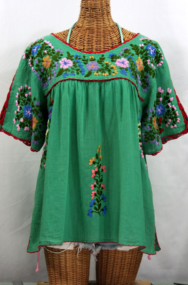 Lijera Libre Plus Size Mexican Embroidered Peasant Top Green T