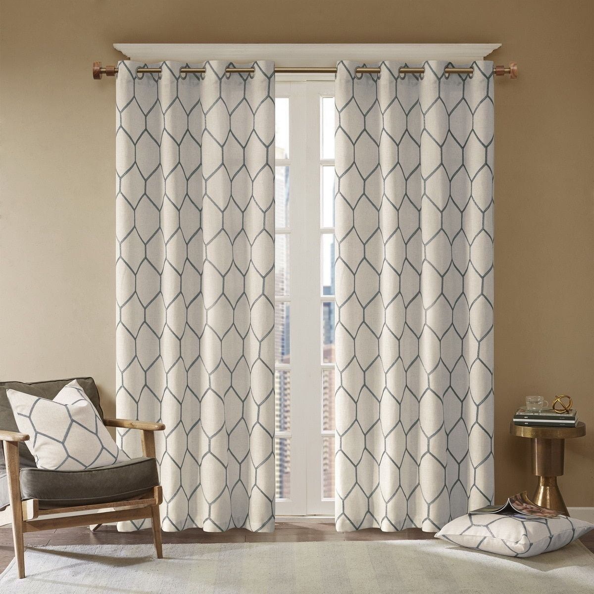 Madison Park Asher Metallic Geo Embroidered Window Curtain Panel 50W X 95L Spice Beige Size 95 Inches Linen Geometric