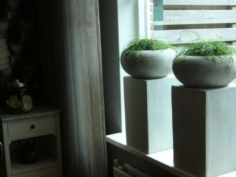 Zuilen met bloempotten mooi voor het raam zuilen for Takken decoratie voor het raam