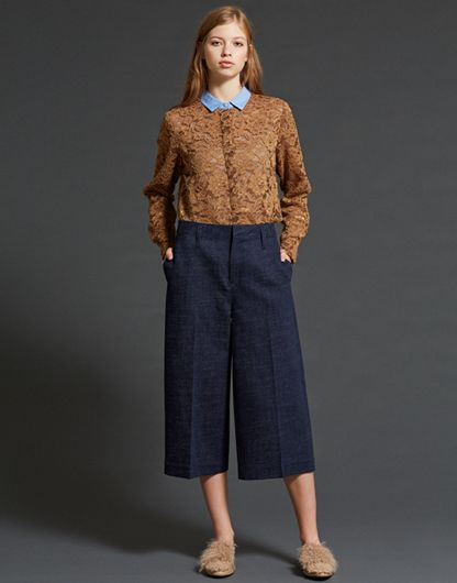 LE CIEL BLEU レースバイカラーシャツ/デニムチューブパンツ/Kalgan Fur Flat Shoes