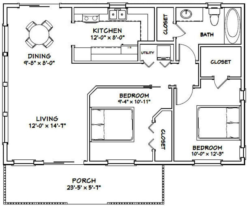 36x24 House 2Bedroom 1Bath 864 sq ft PDF Floor