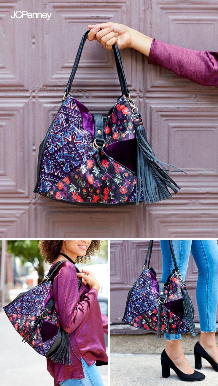 fe10eb2e7fd5e Functional and fashionable go hand-in-hand. A vibrant mix-print bag ...