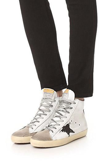 a082abc4f Distressed suede and leather Golden Goose high-top sneakers detailed with a  contrast flag graphic