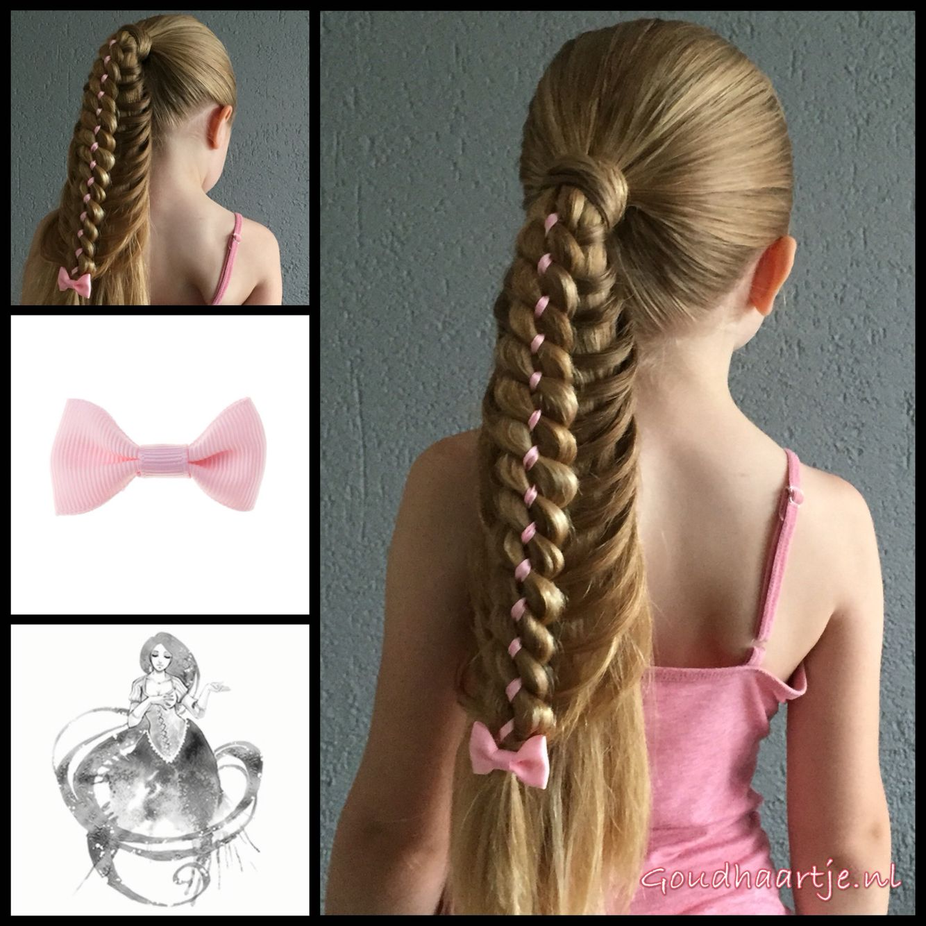 Ponytail With A Four Strand Ribbon Braid And A Little Cute Bow
