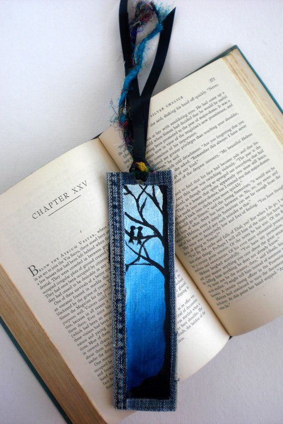 Hand-Painted Birds in Tree Bookmark on recycled denim, available on Etsy. $12.00